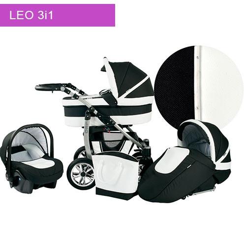 Læder barnevogn inkl autostol - LEO